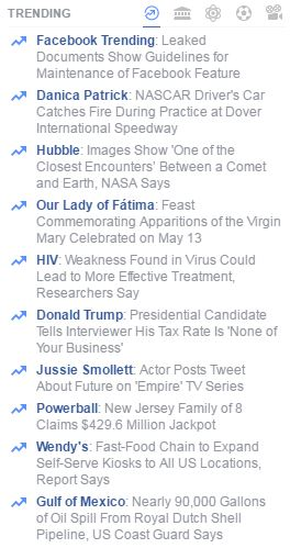 The trending section of Facebook on May 13, 2016