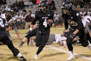 On Palo Verde's home field, Darrion Finn runs the ball in a play against Cimarron-Memorial on Nov. 15.