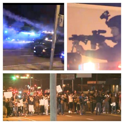Top left: Police trucks fire tear gas on protesters from mounted cannons; Top right: A police officer aims his scoped assault rifle; Bottom: Ferguson protesters march with their hands up towards the police.