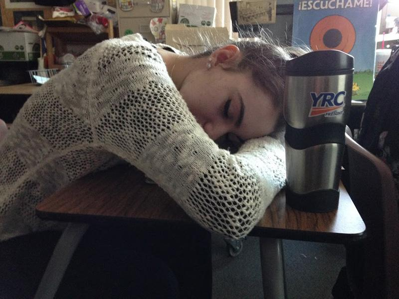 Person in the picture: Brittany Polit  Brittany Polit has trouble staying awake in class after getting little to no sleep the night before. An overload on coffee might be the only solution