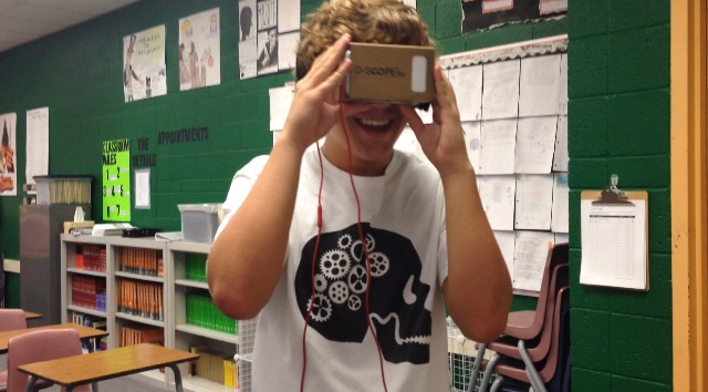 Junior Max Wilde, tries out the Google Cardboard for the first time.