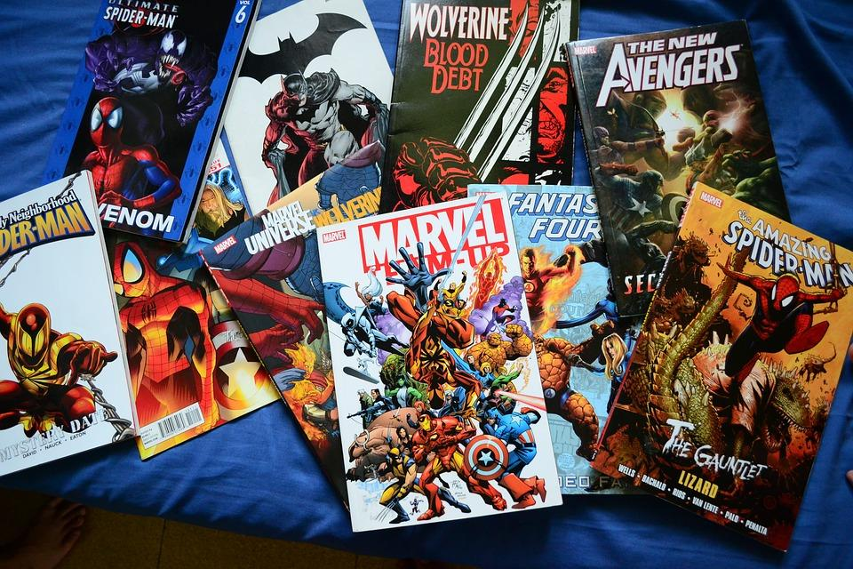A pile of classic superhero comics coming from both DC and Marvel