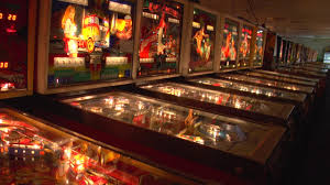 Some of the many pinball machines featured in the pinball hall of fame