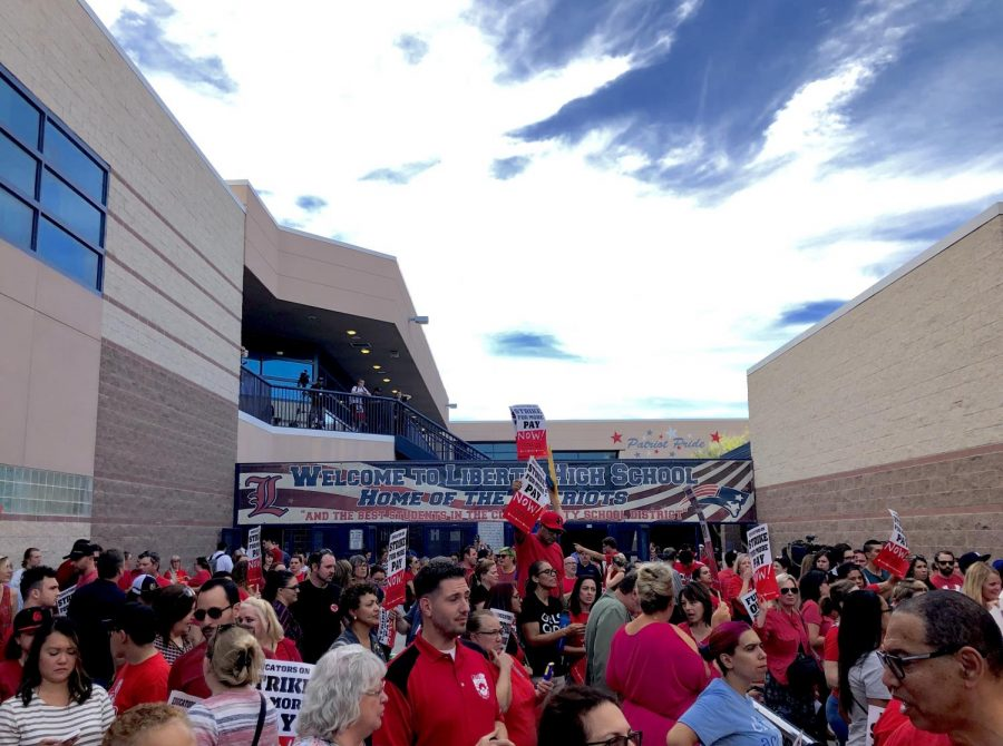 Clark County teachers' impromptu rally after CCSD Trustees ended the school board meeting at Liberty High School on Thursday, Aug. 22, 2019.