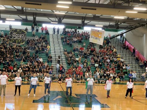 Palo Stands Tall for the Last Pep Rally of the Season