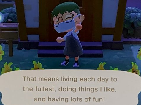 As I finally reach a three-out-of-five-star island rating, my Animal Crossing avatar pumps their fist into the air, excited to have fun and continue ranking up, with this screencap taken in Las Vegas, N.V., Monday, Sept. 21, 2020. (AP Photo/Brooke Galsky)  While the main goal of Animal Crossing: New Horizons is to have fun by building up your island and taking it easy, as shown here, some players use their creativity to find even more ways to have fun.